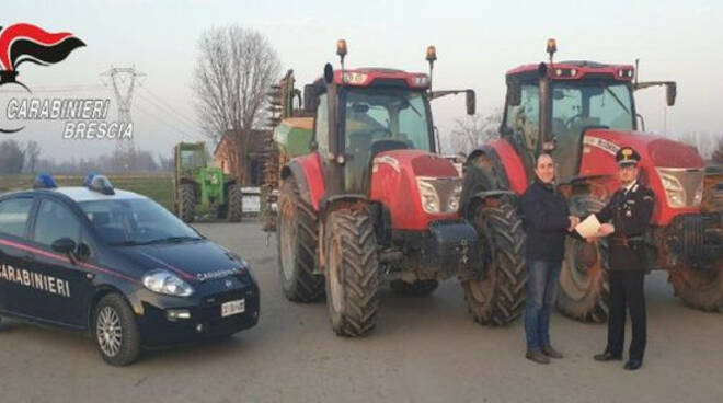 Bassa Bs carabinieri trattori rubati Manerbio Offlaga
