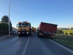 Capriolo camion fuori strada finisce fossato