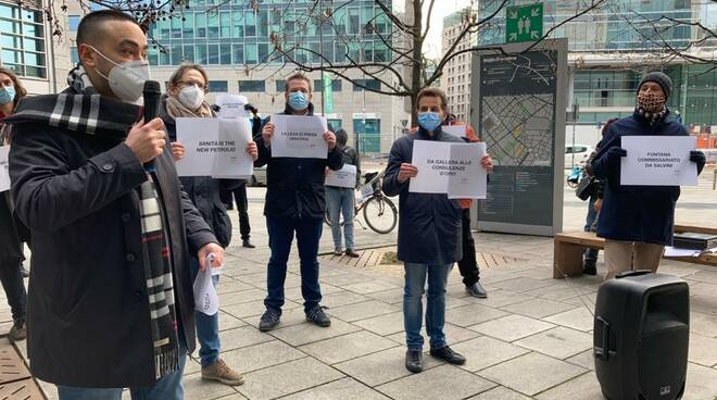 Nicola Di Marco Lombardia Sanità M5S Flash Mob 8 gennaio 2021