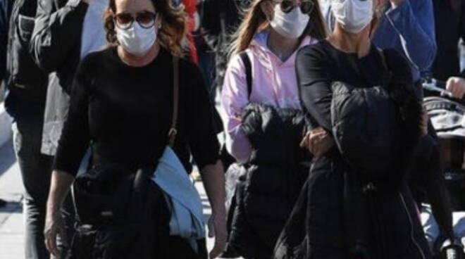 gente strada mascherina covid