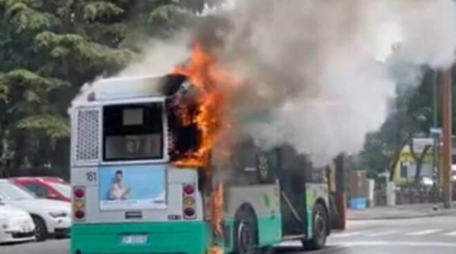brucia rogo incendio autobus