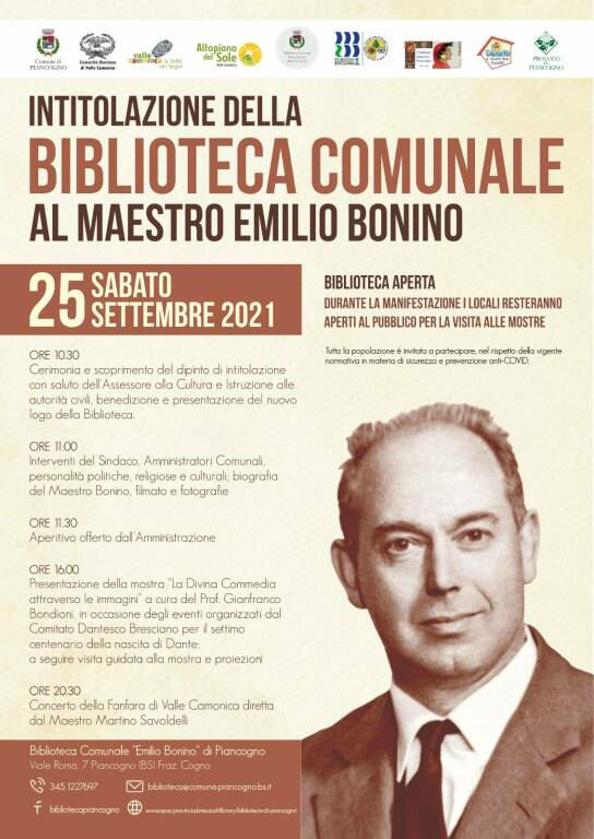 Piancogno locandina Biblioteca Emilio Bonino