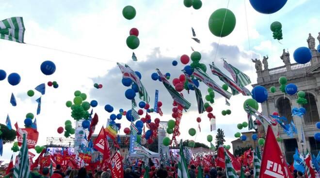 Manifestazione Roma 16 ottobre 2021 delegazione Cgil Brescia